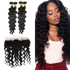 Peruvian Loose Curly 4 Bundles With Lace Frontal 13x4
