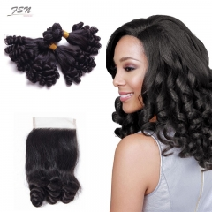 7A Brazilian Funmi 4 Bundles With Lace Closure 4x4