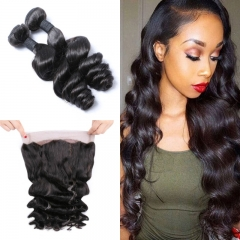 7A Brazilian Loose Wave 2 Bundles With 360 Frontal