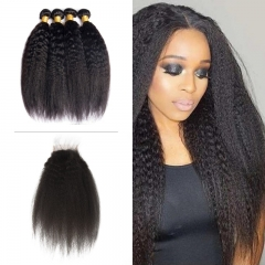 10A Mongolian Kinky Straight 4 Bundles With Lace Closure 4x4