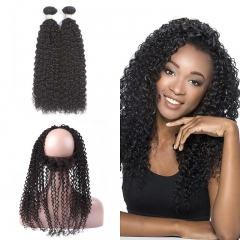 10A Mongolian Kinky Curly 2 Bundles With 360 Frontal