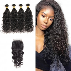 10A Mongolian Natural Wave 4 Bundles With Lace Closure 4x4