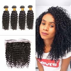 Indian Brazil Curly 4 Bundles With Lace Frontal 13x4