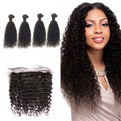10A Mongolian Jerry Curly 4 Bundles With Lace Frontal 13x4