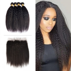 10A Mongolian Kinky Straight 4 Bundles With Lace Frontal 13x4