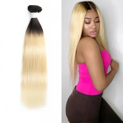 Straight 1B/613 Blonde Human Virgin Hair Weave 7A