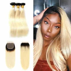 7A 1B/613 Blonde Straight 3 Bundles With Lace Closure 4x4