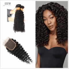 10A Mongolian Deep Wave 4 Bundles With Lace Closure 4x4