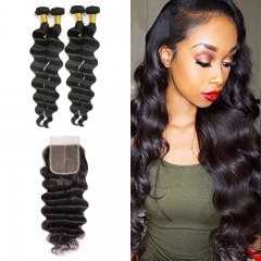 10A Mongolian Loose Curly 4 Bundles With Lace Closure 4x4