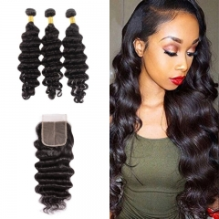 10A Mongolian Loose Curly 3 Bundles With Lace Closure 4x4