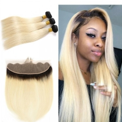 7A 1B/613 Blonde Straight 3 Bundles With Lace Frontal 13x4