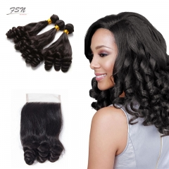10A Mongolian Funmi 3 Bundles With Lace Closure 4x4