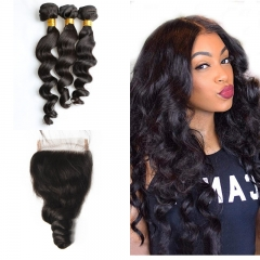 10A Mongolian Loose Wave 3 Bundles With Lace Closure 4x4