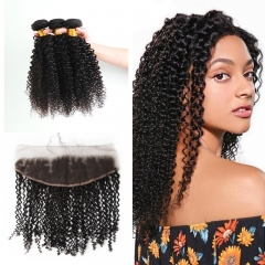 10A Mongolian Kinky Curly 3 Bundles With Lace Frontal 13x4