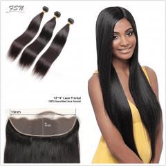 10A Mongolian Straight 3 Bundles With Lace Frontal 13x4