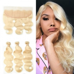 7A 613 Blonde Body Wave 3 Bundles With Lace Frontal 13x4