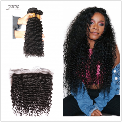 10A Mongolian Deep Wave 4 Bundles With Lace Frontal 13x4