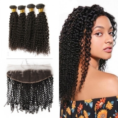 10A Mongolian Kinky Curly 4 Bundles With Lace Frontal 13x4