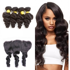 10A Mongolian Loose Wave 4 Bundles With Lace Frontal 13x4