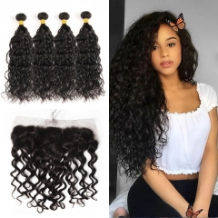 10A Mongolian Natural Wave 4 Bundles With Lace Frontal 13x4