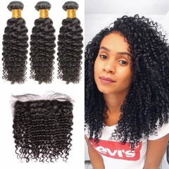 7A Brazilian Brazil Curly 3 Bundles With Lace Frontal 13x4