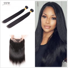 7A Brazilian Straight 2 Bundles With 360 Frontal