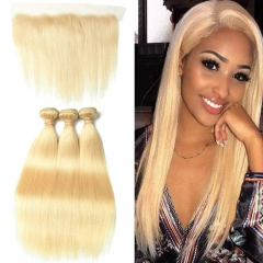 7A 613 Blonde Straight 3 Bundles With Lace Frontal 13x4