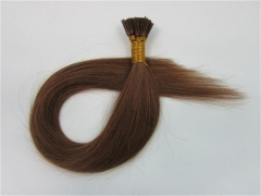 Straight 6# Medium Ash Brown I-tip Hair Extensions 50Strands