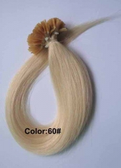 Straight 60# Platinum Blonde Nail-tip Hair Extensions 50Strands