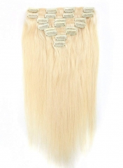 Straight 60# Platinum Blonde Clip in Hair Extensions 100gram