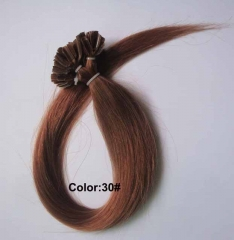 Straight 30# Light Auburn Nail-tip Hair Extensions 50Strands