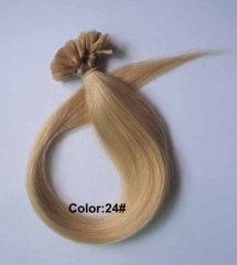 Straight 24# Pale Blonde Nail-tip Hair Extensions 100Strands
