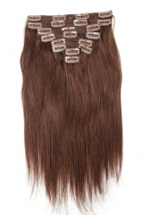 Straight 4# Medium Brown Clip in Hair Extensions 100gram