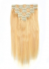 Straight 24# Pale Blonde Clip in Hair Extensions 100gram