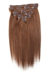 Straight 6# Medium Ash Brown Clip in Hair Extensions 100gram