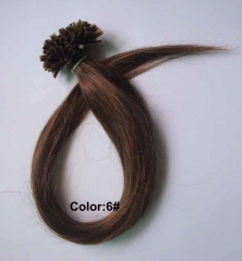 Straight 6# Medium Ash Brown I-tip Hair Extensions 100Strands