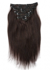 Straight 2# Dark Brown Clip in Hair Extensions 100gram