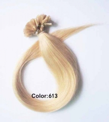 Straight 613# Bleach Blonde Nail-tip Hair Extensions 100Strands