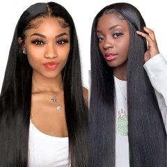 Kinky Straight Human hair 13x6 Lace Front Wigs