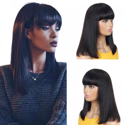 Machine BOB Wigs Human Hair