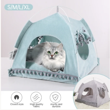 Foldable Pet Dog Tent House Breathable Print Pet Cat House With Net Outdoor Indoor Mesh Cat Small Dog Tent House
