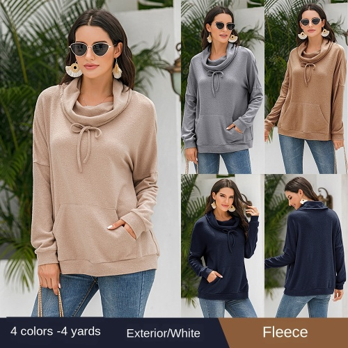 2020 Autumn and Winter Popular Cashmere Loose Long-Sleeved Pure Color Pullover Plush Top