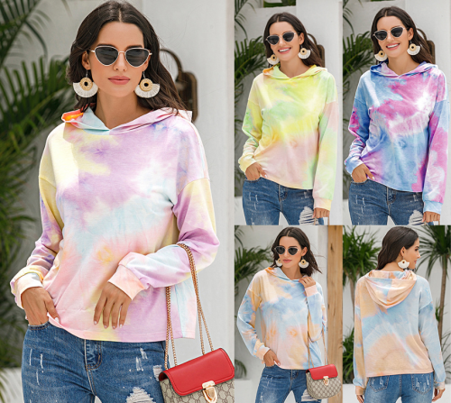 Popular tie dye print gradients Hoodie Top Women