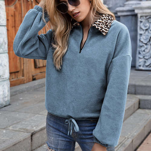 Leopard Lapel fleece coat