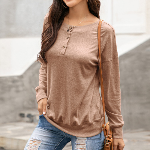 Round neck button long sleeve T-shirt