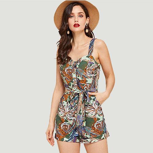 Hot New Tropical Print Button Front Belted Romper