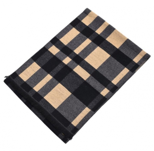 Autumn and winter color woven plaid thickening men's scarf