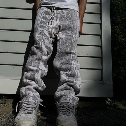 Gray single line casual loose mens trousers TT010