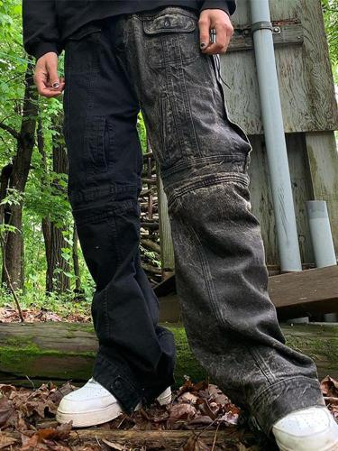 Black stitching casual loose mens trousers TT010