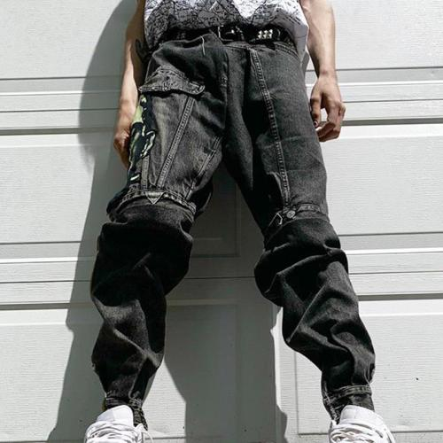 Black casual loose mens trousers TT010